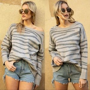 KEEP YOUR EYES ON ME TIGER PRINT SWEATER-GREY